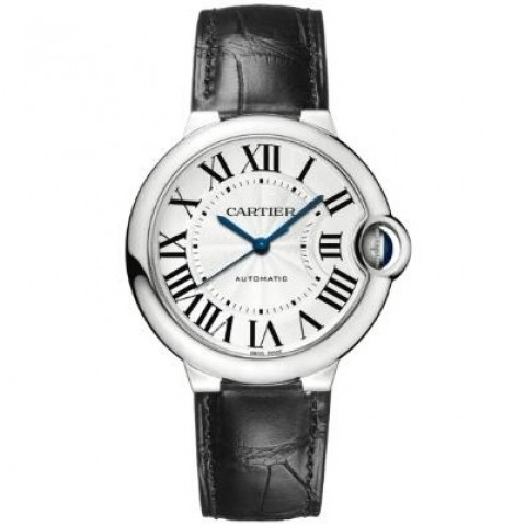 CARTIER W69017Z4 Blue Ballon , 36 MM, Steel, Leather Watch