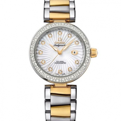De Ville LADYMATIC OMEGA CO‑AXIAL 34 MM  yellow gold on Steel 425.25.34.20.55.002