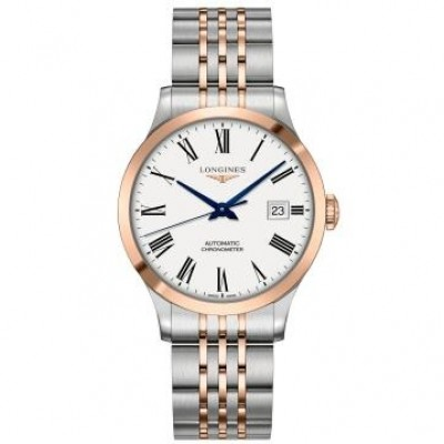 Longines Record Collection L2.820.5.11.7 White Dial Automatic Men's Two Tone Watch