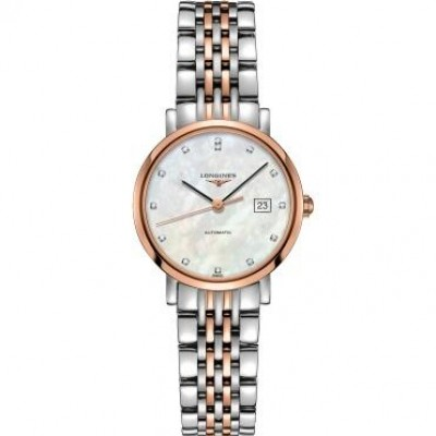 Longines Elegant Collection L4.310.5.87.7 Automatic Diamond White Mother of Pearl Dial Ladies Watch