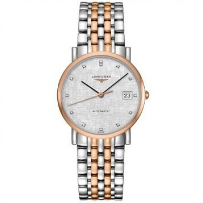 Longines Elegant Collection L4.809.5.77.7 White Dial Steel and 18K Rose Gold Automatic Ladies Watch