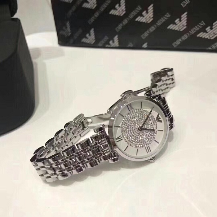 EMPORIO ARMANI  AR1925 Women's quartz watch in stainless steel and rhinestones